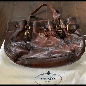 Prada Chocolate Leather Hobo Bag